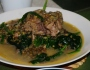 Munggo beans with pork bones and spinach